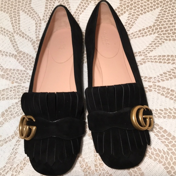 45821833ebfc9 Gucci Shoes - Gucci Marmont Fringe Suede Ballerina Flats